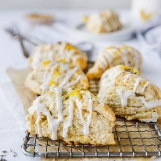 lemon lavender sones with powdered sugar icing on tray