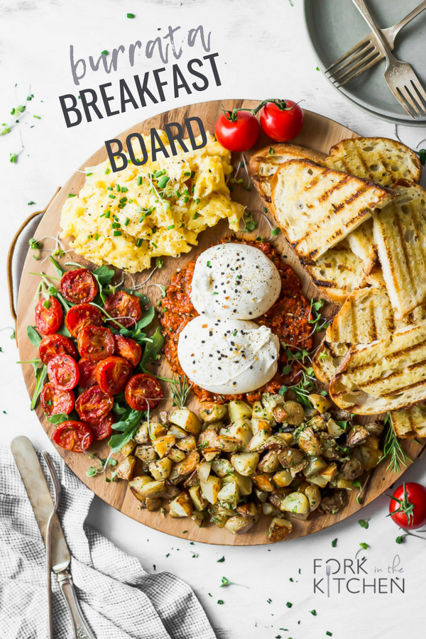This elegant, easy-to-make breakfast board is perfect for weekend brunch - spread it out and create your own adventure! #recipe #forkinthekitchen #vegetarian | Fork in the Kitchen