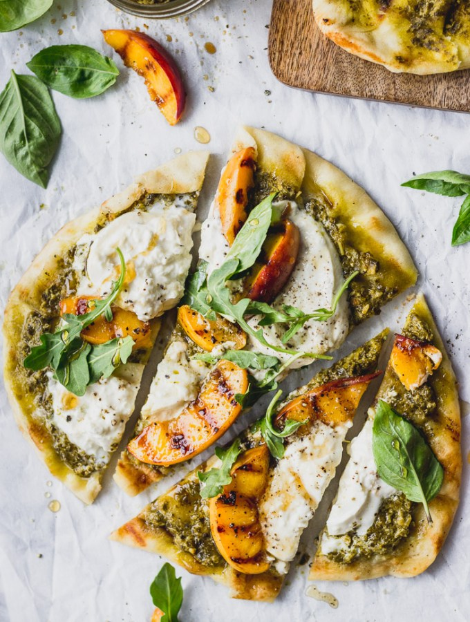 Grilled Peach, Pesto, and Burrata Flatbread