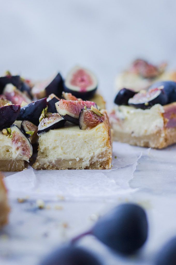 fig cheesecake bars sliced side view