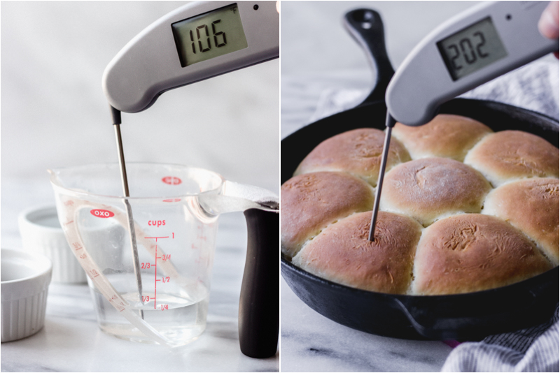 thermapen in water and homemade dinner rolls
