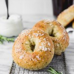 homemade rosemary bagels on cooling rack