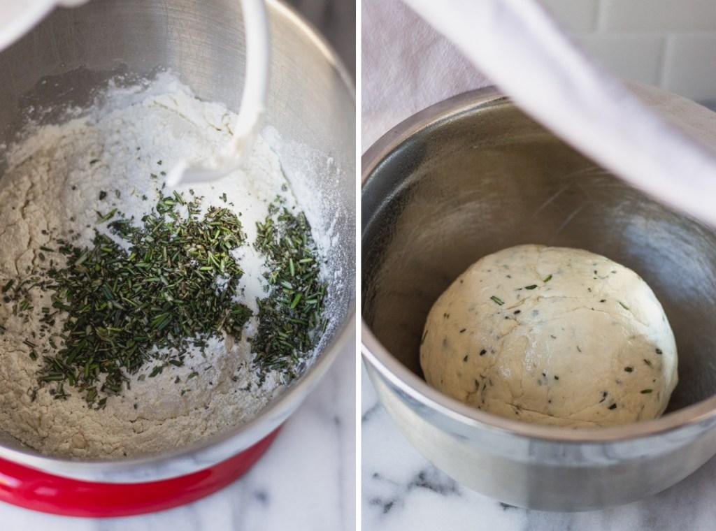 homemade rosemary bagel dough