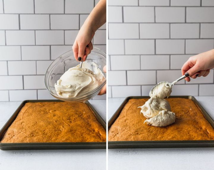 two photos showing cream cheese frosting being put on top of pumpkin bars