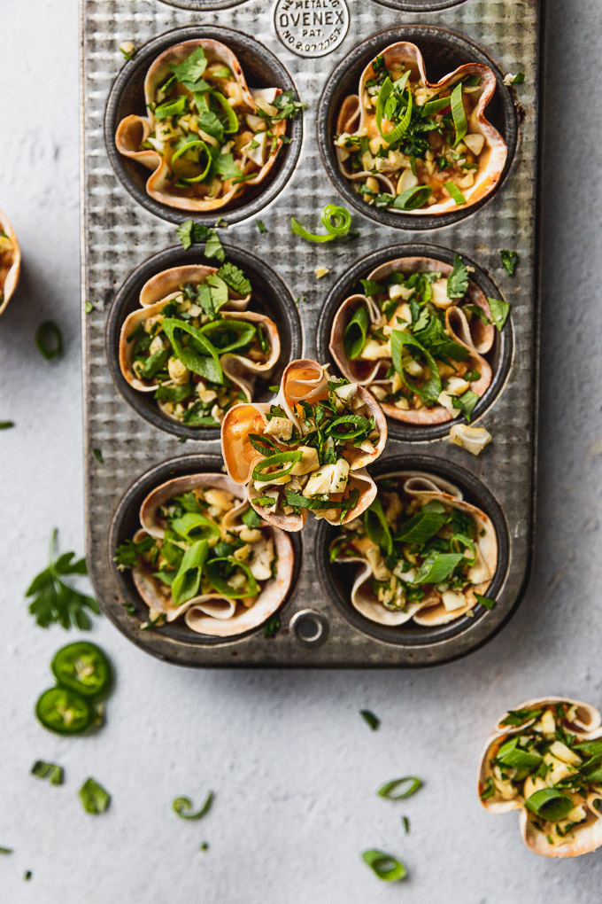 overhead view of wonton cup on top of muffin tin