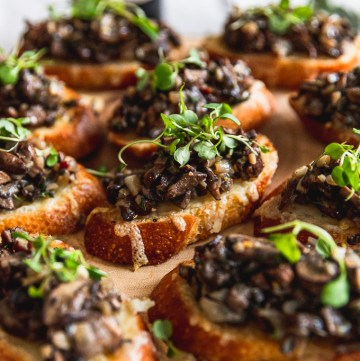 up close mushroom bruschetta