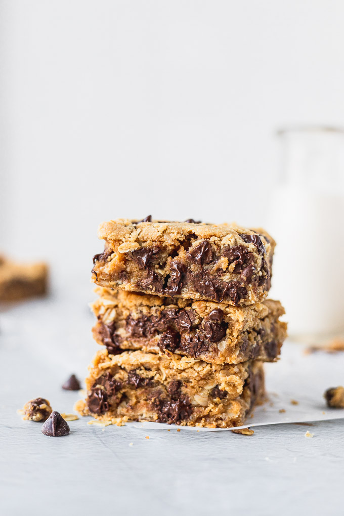stack of cookie bars with gooey chocolate