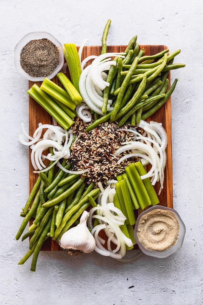 green bean casserole ingredients on cutting board