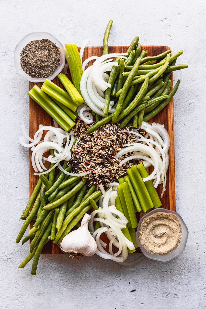 green bean casserole ingredients on cutting board