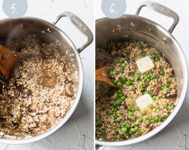 side by side photos of risotto when cooking and risotto with peas and butter added