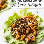 lettuce wraps with cauliflower on white background with teriyaki sauce