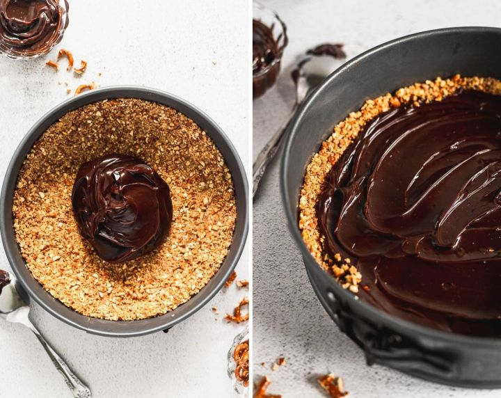 side by side photos of pretzel crust with fudge on top, and then spread