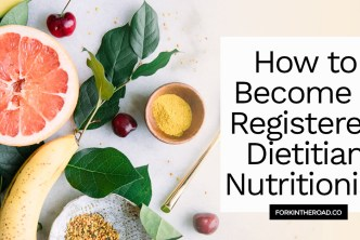 """A photo of yellow fruits with a white box and the words """"How to Become a Registered Dietitian Nutritionist"""" in black writing."""