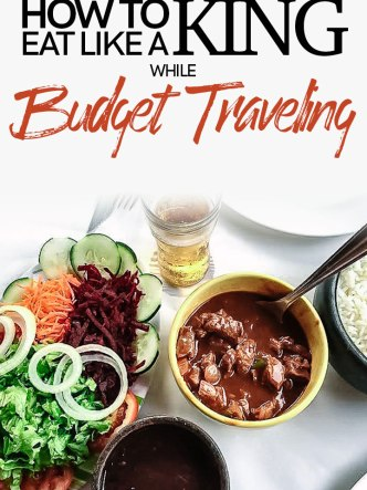 """A white table with Brazilian feijoada with the words """"How to eat like a king while budget traveling"""""""
