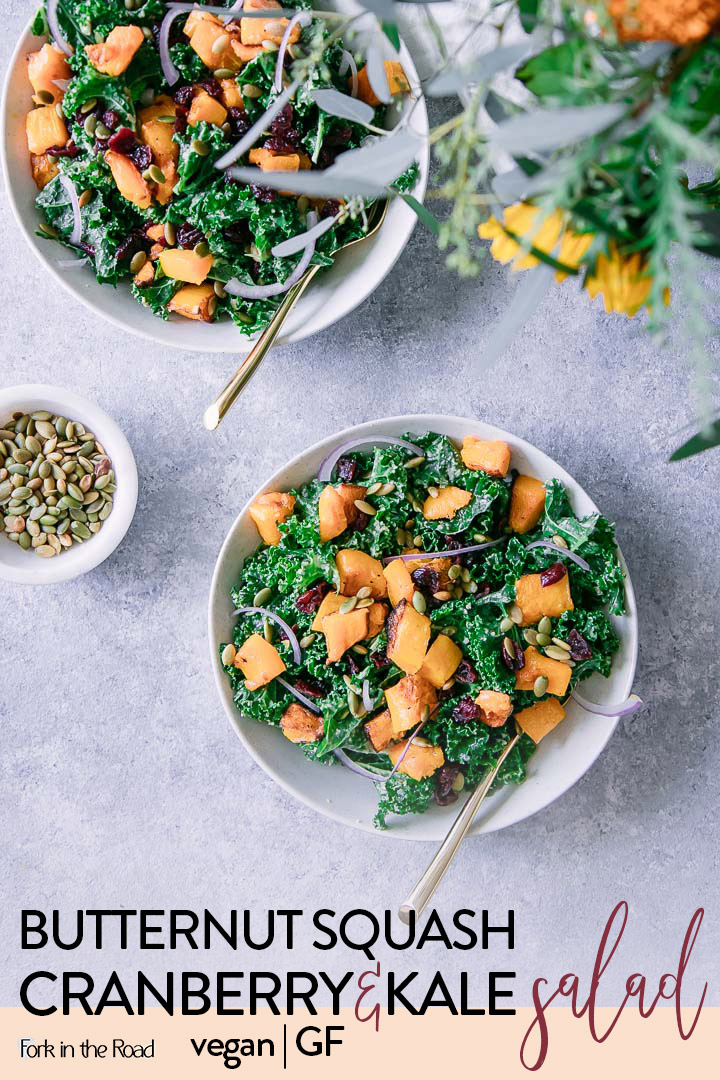 Vegan Roasted Butternut Squash Cranberry Kale Salad, a delicious and easy warm salad using fall's freshest ingredients. #recipe #salad #fall #squash #vegan #cranberry #pumpkinseeds #pepitas