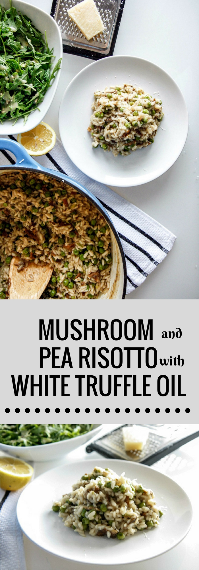 Mushroom Pea Risotto with White Truffle Oil, a simple vegetarian mushroom risotto recipe easy enough for weeknight dinners! #pasta #risotto #mushrooms