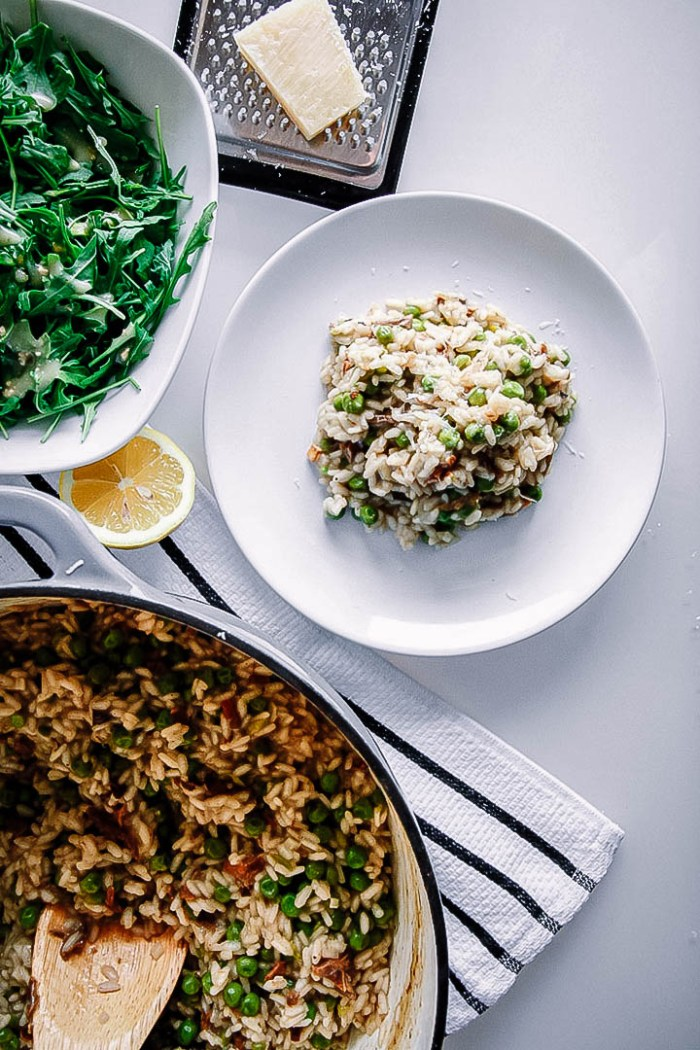 Mushroom & Pea Risotto with White Truffle Oil