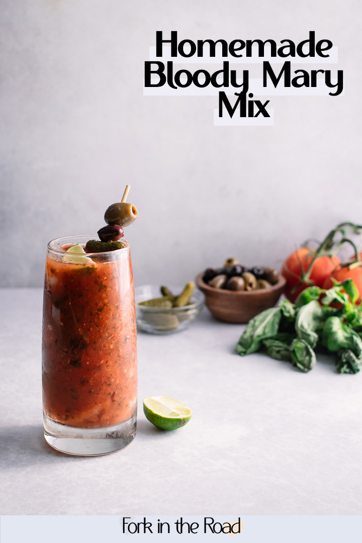 Love a fresh spicy bloody mary? This homemade cocktail mixer is the perfect copycat for Zingzang made from seasonal tomatoes, spices, and herbs. #spicy #homemade #easy #bloodymary