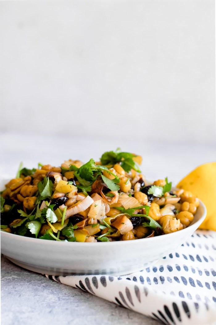 Za'atar Crispy Chickpea and Leek Salad