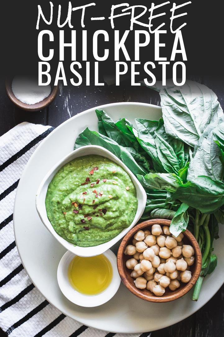 Nut-Free Chickpea Basil Pesto recipe using garbanzo beans instead of pine nuts. 5 minutes, 5 ingredients, and great on pasta, pizza, and veggies. #pesto #nutfree