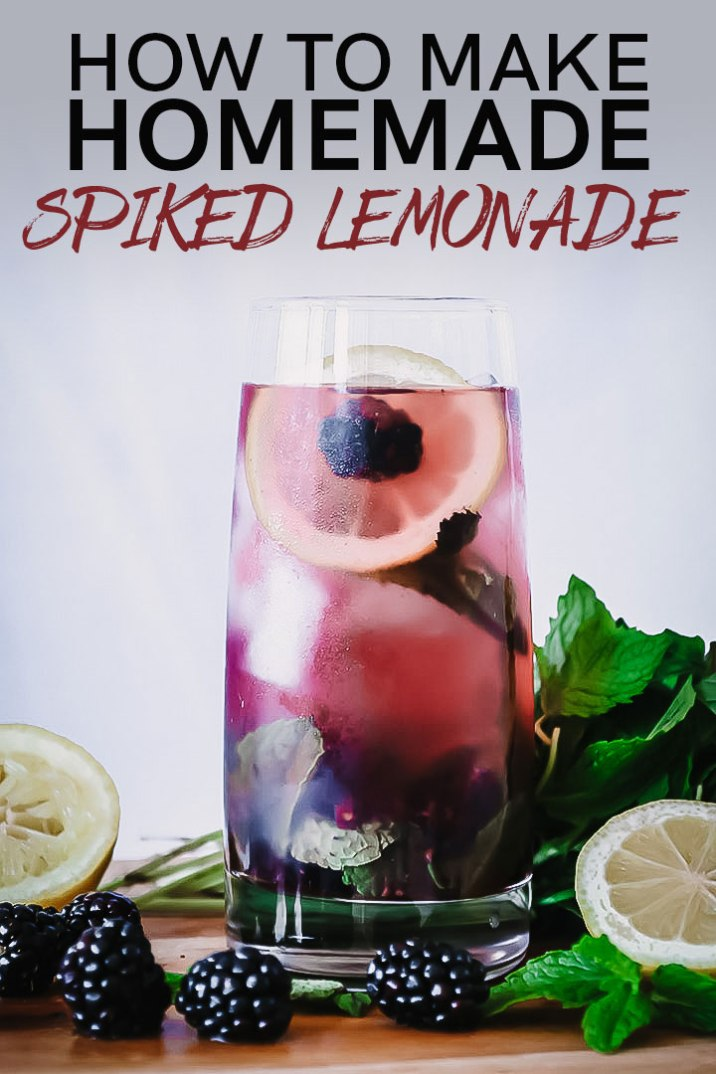 How to make Boozy Blackberry Lemonade, a homemade spiked lemonade made with fresh summer berries and tart lemons. Perfect for hot summer afternoons! #lemonade #homemade #berries #cocktail