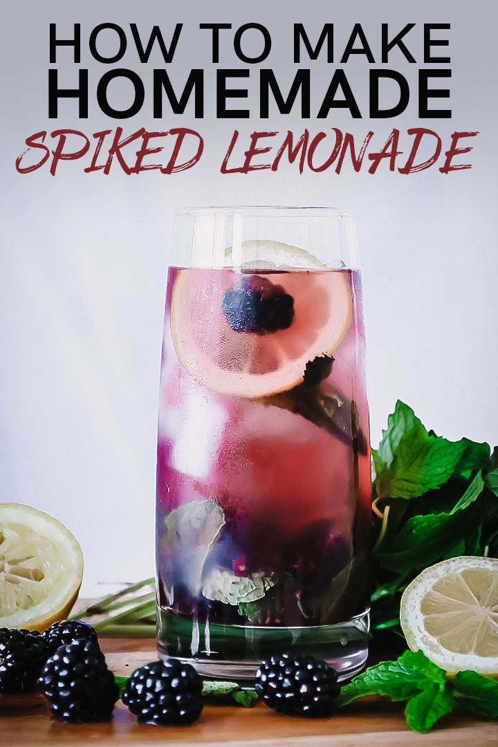 How to make Boozy Blackberry Lemonade, a homemade spiked lemonade made with fresh summer berries and tart lemons. Perfect for hot summer afternoons! #lemonade #homemade #berries #cocktail