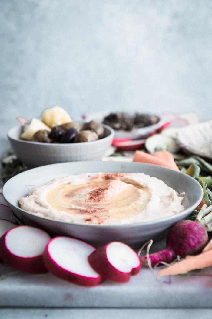 White Bean Hummus Mezze Platter