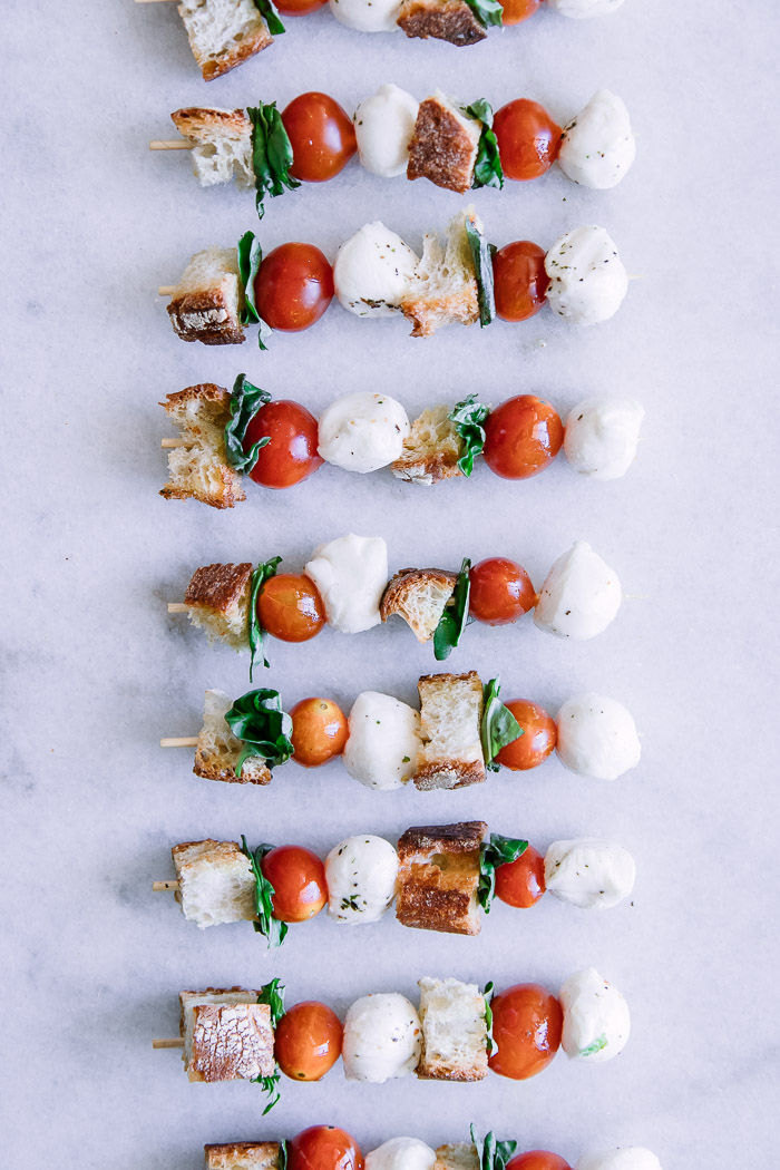 Caprese Panzanella Salad Skewers