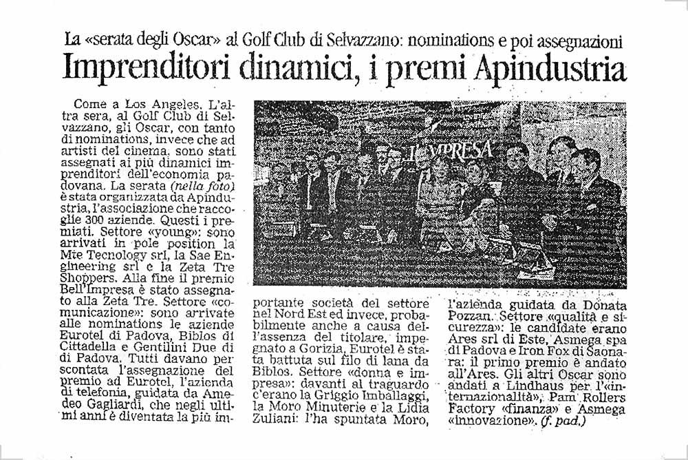 Premio Bell'Impresa – Il Gazzettino di Padova 1 | Forlani Studio
