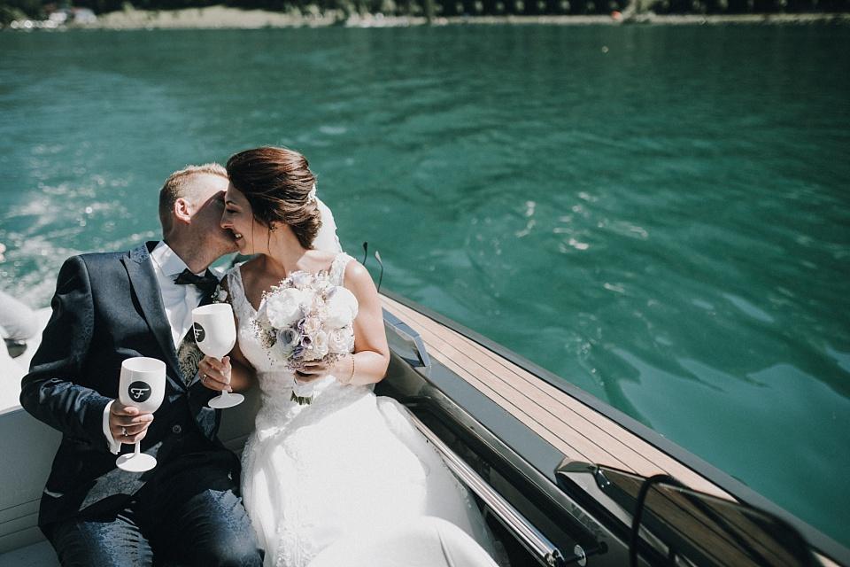 Hochzeit am Achensee, Boot, Brautpaar