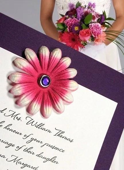DIY Purple Wedding Invitations with Embossed Petals and Amethyst Brad