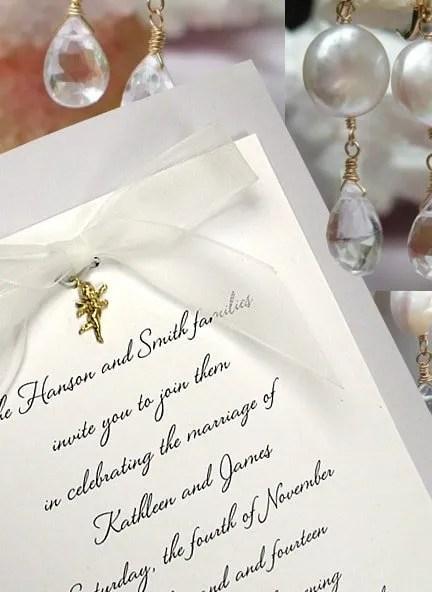 Dusty Blue Wedding Invitations with Charm