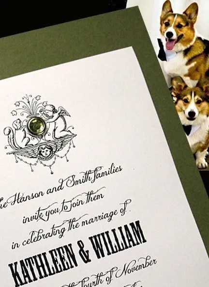 Olive Green Wedding Invitation with Peridot Crystal Brad