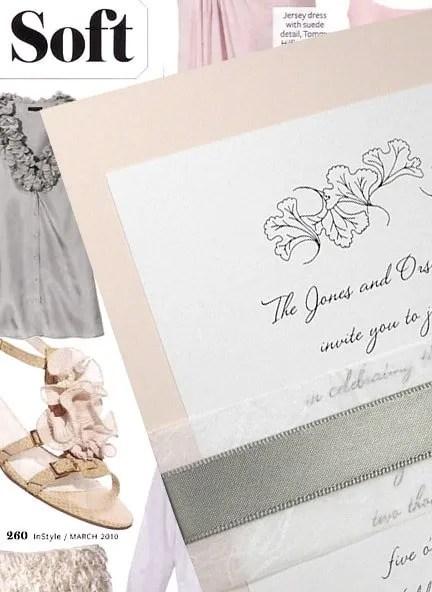 Blush Pink Wedding Invitations with Satin Grey Wrap