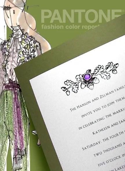 Olive Green Wedding Invitations with Amethyst Crystal Brad