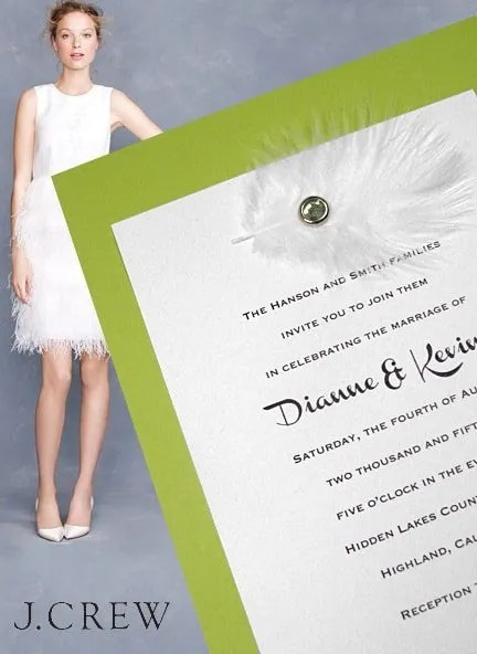 Pear Green Wedding Invitation with Feather Embellishment
