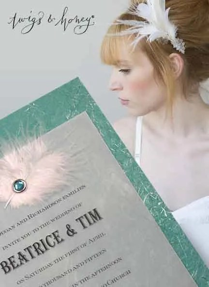 Teal Wedding Invitations with Feather and Crystal Brad
