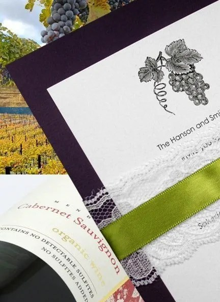 Winery Wedding Invitations with Lace Wrap