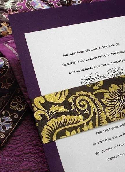 Purple, Brown and Gold Wedding Invitations