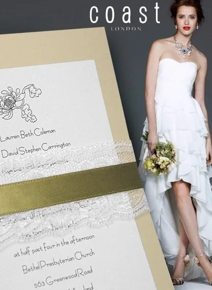 DIY Wedding Invitation with Moss Green Ribbon and Lace Wrap