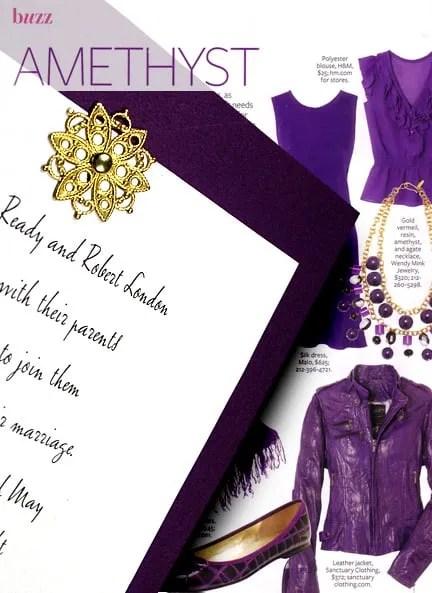 Rich Purple DIY Wedding Invitations with Brass Filigree Medallion