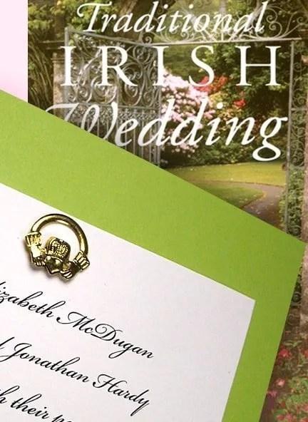 Pear Green Wedding Invitation with Gold Claddagh