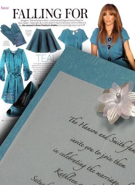 Teal Wedding Invitations with Silver Silk Star Flower
