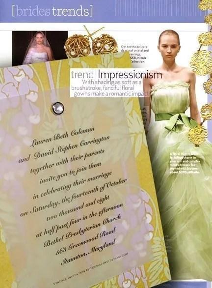 DIY Art Nouveau Wisteria Wedding Invitations