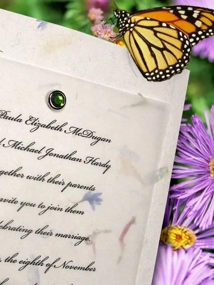 Handmade Paper Wedding Invitations with Green Crystal Brad