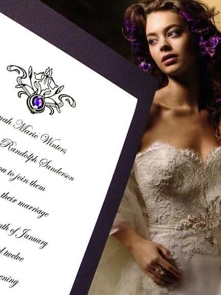 Purple Wedding Invitations with Amethyst Brad