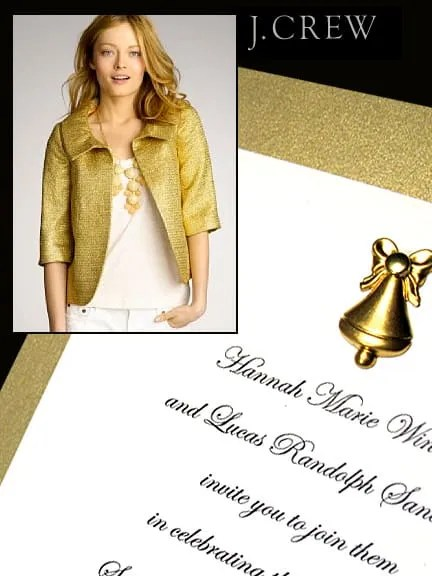 DIY Gold Invitations with Brass Bell Charm