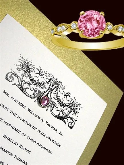 DIY Ornate Gold Wedding Invitations with Crystal Brad