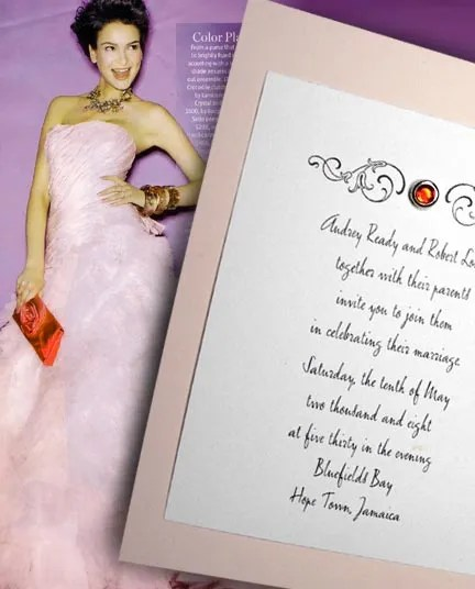 Blush Pink Wedding Invitations with Ruby Crystal Brad