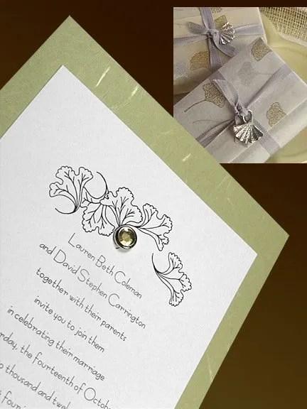 Sage Green Wedding Invitations with Crystal Brad